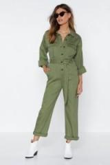 Nasty Gal – Girl Utility Fine Jumpsuit in Khaki | green utilitarian fashion