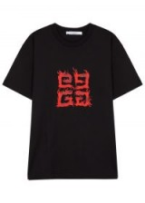 GIVENCHY Black logo-print cotton T-shirt / designer short sleeve tee