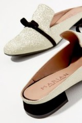 Anthropologie Glitter Bow Loafers in Silver   shimmering slip-ons