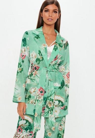 MISSGUIDED green floral collared tie jacket / flower print blazer