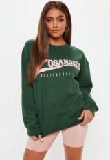 Missguided green los angeles graphic sweat – sporty tops