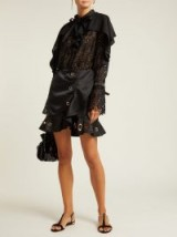 SELF-PORTRAIT Black Guipure-lace and crepe mini dress