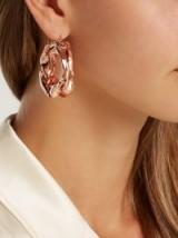 JIL SANDER Hammered rose gold-tone hoop earrings ~ distorted statement hoops