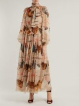 DOLCE & GABBANA Hen and calligraphy-printed beige silk gown ~ romantic Italian clothing