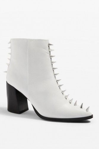 TOPSHOP Hex Studded Boots in White / stud embellished leather ankle boot