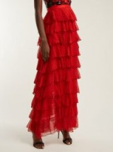 RODARTE High-rise tiered red silk-chiffon skirt – black flocked polka dots