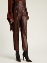 PETAR PETROV Hikari striped bronze lamé trousers / high waist shimmering pants
