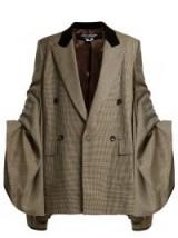 JUNYA WATANABE Houndstooth check ruched-sleeve wool blazer / contemporary statement fashion