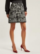 DOLCE & GABBANA Black and White Houndstooth tweed mini skirt
