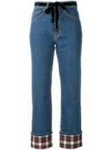 ISA ARFEN contrast turn-up jeans – cropped tartan print hems