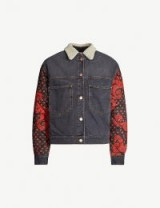 ISABEL MARANT ETOILE Chrissa contrast-panel denim bomber jacket in faded black | patterned quilted sleeves
