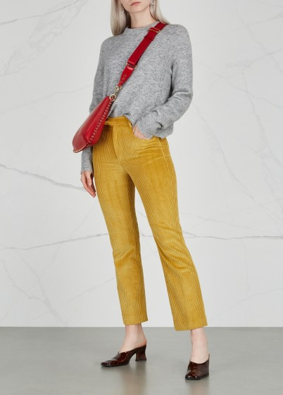 ISABEL MARANT Yellow cropped corduroy trousers – cord pants