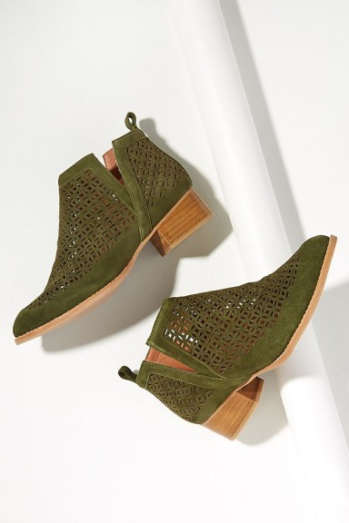 Jeffrey Campbell Tagloni Khaki-Green Suede Booties | autumn ankle boots