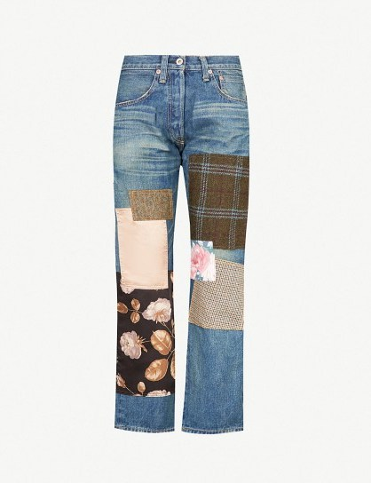 JUNYA WATANABE Contrasting patchwork straight high-rise jeans indigo mix – mixed print patches - flipped