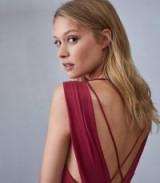 REISS KARINA CROSS BACK COCKTAIL DRESS RASPBERRY ~ little details