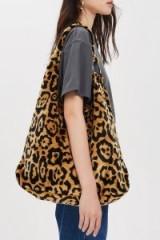 Topshop Kenya Leopard Print Tote Bag | large animal printed shoulder bag | autumn tones