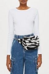 Kenya Zebra Print Bag in Monochrome | animal stripes | black and white fanny pack