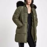 River Island Khaki faux fur trim longline puffer jacket – warm and stylish winter jackets – green chunky coats