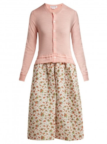 COMME DES GARÇONS GIRL Pink Knitted and quilted floral-print panel dress