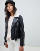 Lab Leather Biker Jacket with Detachable Faux Fur Collar Black – casual luxe
