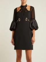 SELF-PORTRAIT Black Lace-panelled cutout crepe mini dress ~ glamorous lbd