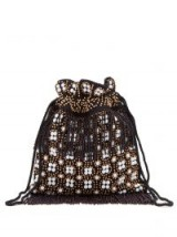 STAUD Lance bead-embroidered canvas pouch | black beaded drawstring bag