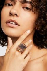 M.Liz Designs Large Raw Stone Ring fluorite / chunky boho jewelry