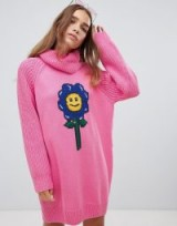Lazy Oaf flower power sweater dress Pink – slouchy oversized knitwear