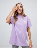 Lazy Oaf little maggot t-shirt purple – oversized high-neck tee