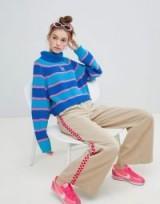 Lazy Oaf stripey roll neck jumper in blue | striped retro style sweater