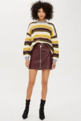 Topshop Leather Look Burgundy Mini Skirt | autunm colours