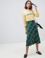 Leon & Harper Jordie checked skirt in green | A-line midi