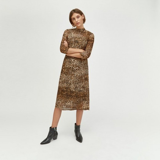 WAREHOUSE LEOPARD PRINT MESH DRESS IN BROWN / animal prints - flipped