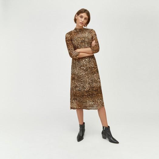WAREHOUSE LEOPARD PRINT MESH DRESS IN BROWN / animal prints