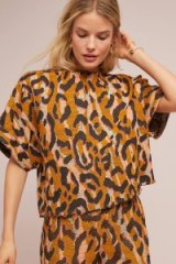 34N 118W Leopard Structured Top Orange. WILD ANIMAL PRINTS