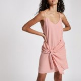 River Island Light pink knot front slip dress | thin strap frock