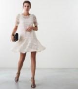 Reiss LINDA LACE SHIFT DRESS OFF WHITE / semi sheer occasionwear