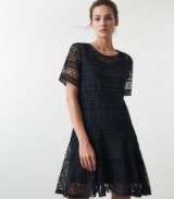 REISS LINDA NAVY LACE SHIFT DRESS ~ feminine party look