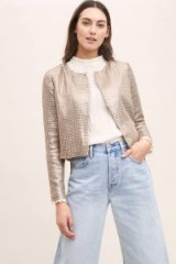 Seen Worn Kept Livy Sequin Jacket in Silver ~ metallic collarless jackets