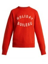 HOLIDAY Logo-intarsia red virgin-wool sweater / slogan crew neck jumper