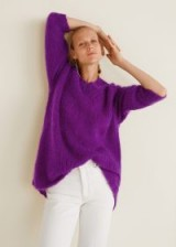 MANGO Long mohair-blend sweater in purple | fluffy V-neck jumpers