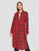stradivarius Long red checked trench coat | stylish autumn outerwear