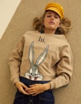 stradivarius Looney cropped sweatshirt in stone | Bugs Bunny print top