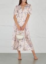 LOVESHACKFANCY Delaney printed silk midi dress – floral prints – vintage looking frock