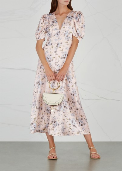 LOVESHACKFANCY Delaney printed silk midi dress – floral prints – vintage looking frock