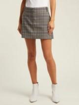 TIBI Lucas check mini skirt / grey checks