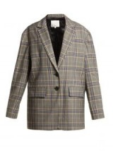 TIBI Lucas oversized checked woven blazer / grey single breasted jacket
