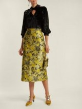 ERDEM Maira yellow floral jacquard pencil skirt ~ luxe clothing