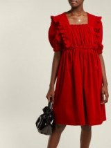 SHRIMPS Malacky ruffle red cotton-corduroy babydoll dress – cord dresses