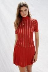 Misha Collection Marianne Mini Dress red lurex. METALLIC STRIPE